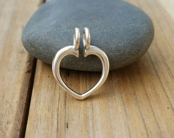 Ring Keeper, Sterling Silver Heart RingKeeper, Silver Charm Holder, Heart Link,Silver Ring Keeper,Charm Necklace,Sterling Silver Ring Holder