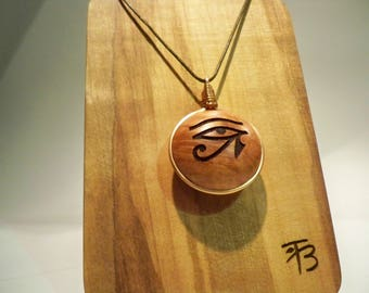 Wooden pendant, briar wood, spiritual pendant, eye of Horus, Made to order, necklace pendant, personalized