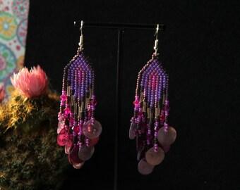 Native American Earrings Multicolor earring bead Earrings  handmade Gift for girl, Long Beaded Earrings