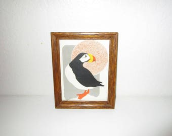 Puffin Framed Art Print - Vintage 1970s - Modern Bird Design - Professionally Framed in Wood Frame - Ready to Hang