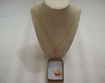 Orange Bead Necklace and Earring Set with 24 Inch Gold Tone Nichol Free Chain