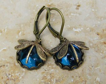 Dragonfly earrings, dragonfly blue bronze or silver 12mm cabochon