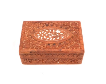 Vintage Indian Wooden Box, Tarot Card Box, Wooden Inlaid Jewelry Box, Hand Carved Wooden Box, Wood Jewelry Floral Box, Decorative Box Wooden