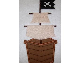 Instant Download Pirate Ship Embroidery Machine Applique Design-641