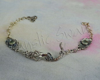 Tranquil Mermaid Bracelet with Oval Scrollwork Links Set with Light Green Prehnite in Sterling Silver