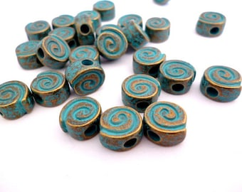 Brass Aged Patina Solid Metal Beads_PA05510407_Greek Beads_UL_of 8x9x5mm_Hole 3 mm_ Pack 15 pcs