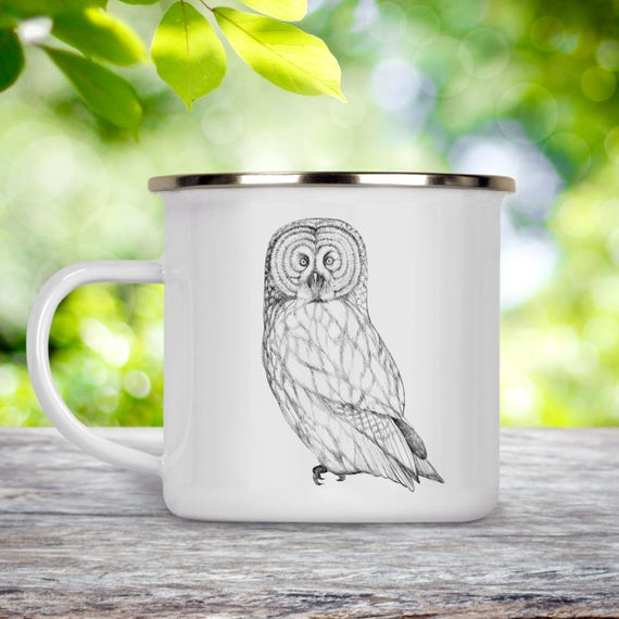 Owl Camp Cup - Illustrated Owl Enamel Mug - Dishwasher Safe