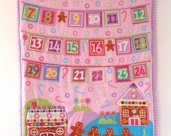 Advent Calendar Quilted Gingerbread House Numbers Pink Purple Girl