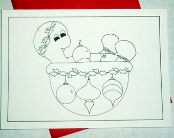 Baby with ornaments, cards, cards to color, children's cards, holiday cards, christmas card, coloring, turtle