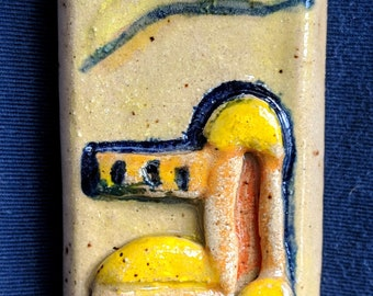 Colorful Handmade Ceramic Mezuzah Case with raised design of Jerusalem, handpainted with letter Shin
