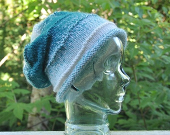 Adult Dreadlock Hat, Slouch Oversized Hand Knitted Beanie, Rolled Brim, Super Soft Warm Winter Hat ,Gradient off white, turquoise, teal hat
