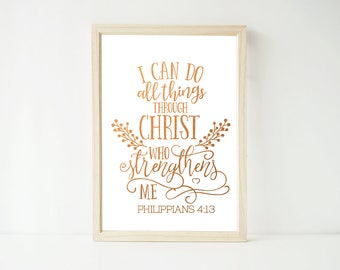 Real Foil Print - I Can Do All Things Through Christ, Scripture Christian, Kitchen, Home Decor Wall Art, Gold, Gopper, Silver