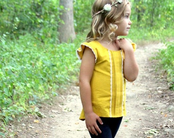 Helena's Button back pintuck pleated Top & Dress. PDF sewing pattern for toddler girl sizes 2t - 12.