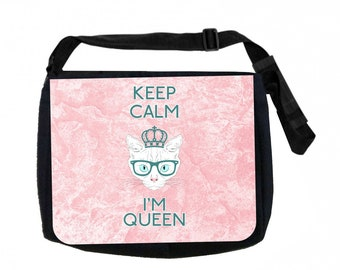 Keep Calm I'm Queen Black School Shoulder Messenger Bag