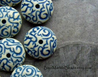 Disc Bead, Etched Bead, Carved Bead, Vintage Bead, Lucite Bead, Blue And White, Scroll Work, Unique Bead, Boho Bead, Tribal Bead, 20 Beads
