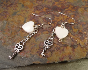 Key to My Heart Earrings | Key Earrings | Heart Earrings | Silver Key Earrings | Pearl Earrings | Dangle Earrings | Key Jewelry
