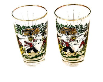 Vintage Pirate Glasses - Pair of Mid Century Pirate Tumblers!  Swashbuckling Pirate Tumblers Matey!  2 Pirate Glasses