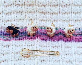Sheep knitting or crochet stitch markers - Set of 4 - Polymer Clay