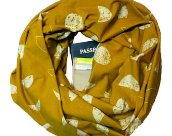 Luna | Mustard Yellow Moon Phases Pattern Knit Infinity Scarf With Hidden Pocket