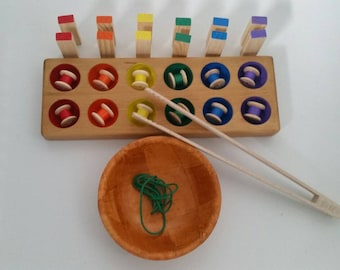 Montessori Inspired  Rainbow Tray, Threading, Sorting, Matching and Use of Tongs