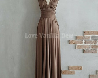Bridesmaid Dress Infinity Dress Brunette Brown Floor Length Maxi Wrap Convertible Dress Wedding Dress