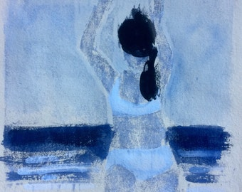 """Woodcut with watercolor added, """"Beach Dancer (arms raised)"""""""