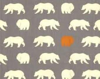 Organic Gray Bear Fabric, Grey, Birch Fabrics, Bear Camp, Bear Hike Shroom
