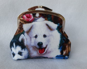 "4"" Nickel Kiss Clasp Coin Purse with Doggy Print"