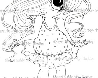 INSTANT DOWMLOAD Digital Digi Stamps Big Eye Big Head Dolls Digi Img058  New Fluffy Besties Tm  By Sherri Baldy