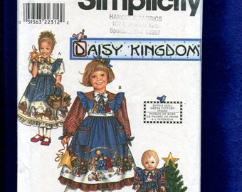 Simplicity 0633 Daisy Kingdom  Dress & Pinafore for Little Girls  Raised Waist and Matching Doll Dress  Sizes 3 TO 6 UNCUT