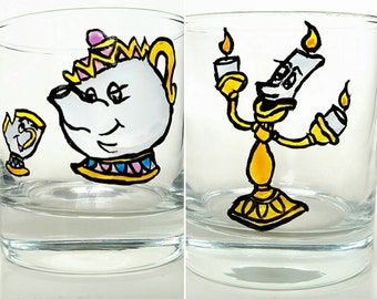 Disney Beauty and the Beast Style Tumblers Mrs Potts Chip Lumiere hand painted Whisky Mixer Glasses Set of Two