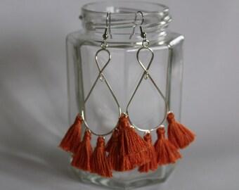 Orange and Silver Multi Tassel Teardrop Hoop Dangle Earrings