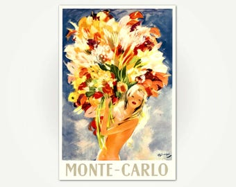 Monte-Carlo Travel Poster Print - Monte Carlo Flowers Poster Art by Jean-Gabriel Domergue