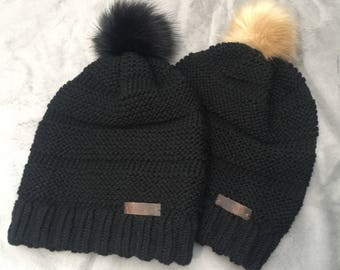 Adult Slouchy Pom Hat - Black