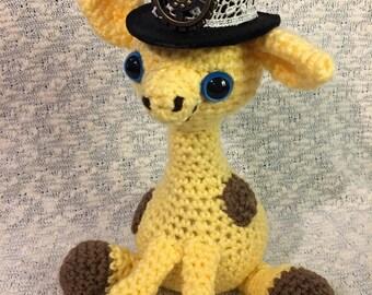 Crochet Baby Giraffe with Steampunk Hat
