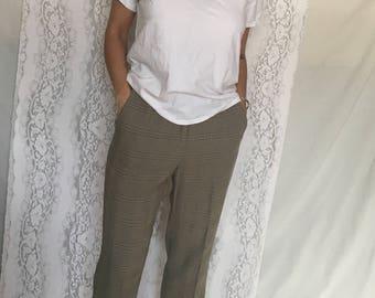Vintage 90's beige plaid old man pants