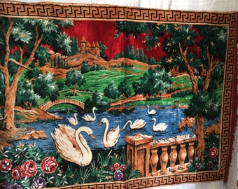 Vintage Swan Tapestry Wall Hanging