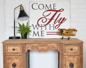 Come Fly With Me, Airplane Art, Aviation Art - Nursery Decor - Office Decor - Adventure Nursery - Boys Room Decor