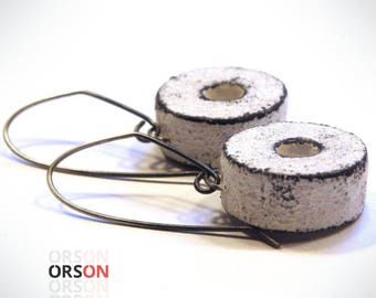 Orson's Shabby & Hollow Millstone Box Earrings Polymer clay and silver Original tutorial e-book
