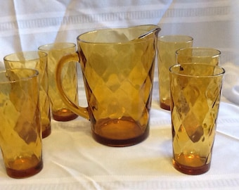 Hazel Atlas Amber Pitcher And 6 Matching Drinking Glasses