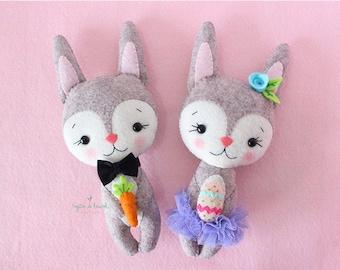 Plush Easter Bunny, Easter Gift for Toddlers, Easter Nursery Decor, Stuffed Bunny Felt Doll, Easter Home Decor, Stuffed Bunny Rabbit