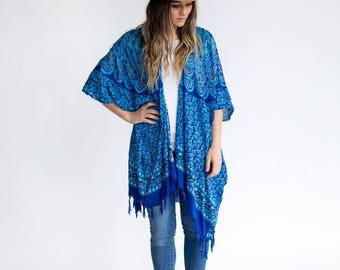 Ocean Blues Kimono | Womens OneSize Plus, Bohemian Mandala Sarong, Turquoise, Comfy Robe, Stylish, Lightweight, Soft, Spring, Fall, Summer