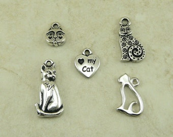 5 TierraCast Kitty Cat Charms Mix Pack > Feline Kitten Meow Pet Companion Purr - Silver Plated Lead Free Pewter - I ship Internationally a5