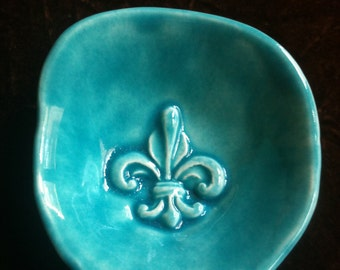 Fleur de Lis glacier blue handmade Pottery Bowl