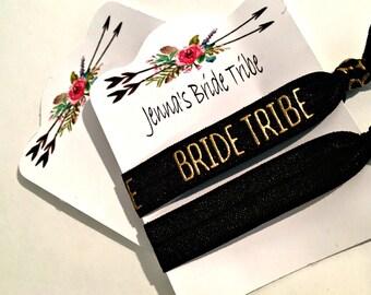 Bride Tribe Hair Ties ask bridesmaids' gifts bachelorette hair elastic weddings bridal shower favor 2 ties per card