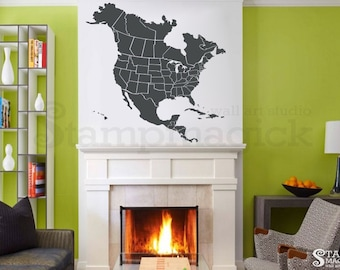 north america map decal united states usa us map wall decal state outline province border