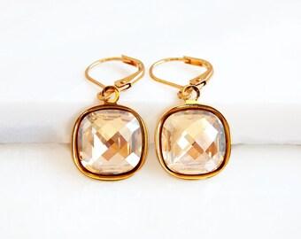 Gold crystal earrings - Swarovski earrings - square crystal earrings - gold earrings - crystal drop earrings  - bridesmaid earrings - bridal