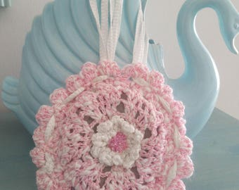 hanging pillow 12cm diameter Lavender cotton and silk pink and white