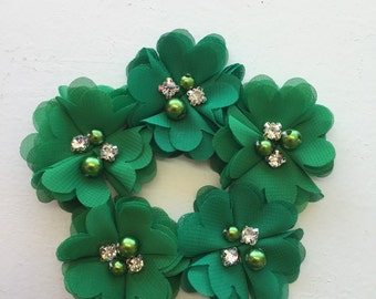 "2.5"" Green Chiffon Flower with Pearl and Rhinestone Center set of 5"