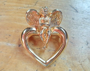Vintage Signed Givenchy Gold Plated Heart Angel Brooch Pin Gift For Mom Sweetheart